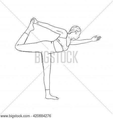 Yogi Woman Practicing Hatha Asana. Woman In Dancer Yoga Pose. Sketch Vector Illustration