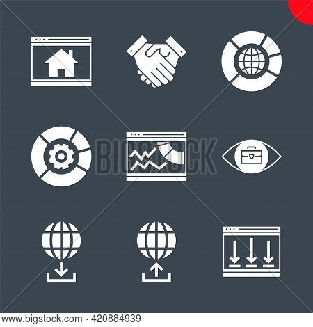 Seo Related Vector Glyph Icons Set. Partners, Data Management, Seo Data, Competitive Analysis, Homep