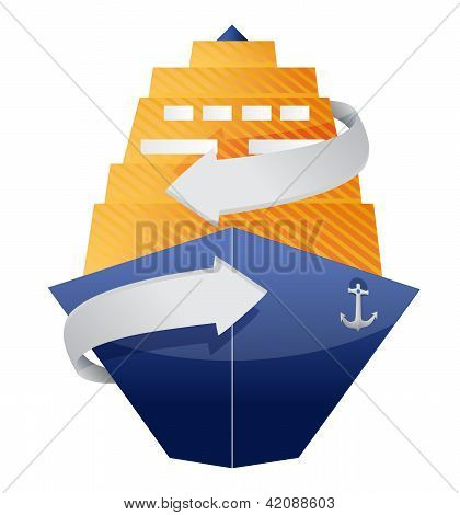 cruise ship and arrow illustration design over a white background poster