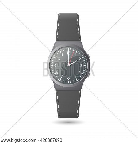 Analog Wristwatch Concept. Colored Flat Vector Illustration. Isolated On White Background.