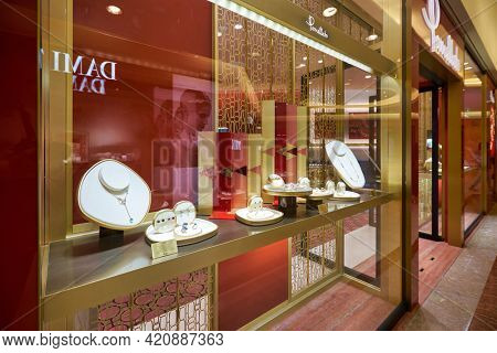 SINGAPORE - CIRCA JANUARY, 2020: jewelries on display at Pomellato store in Nge Ann City shopping center.