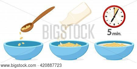 Cooking Oatmeal Step By Step Instructions On A White Background