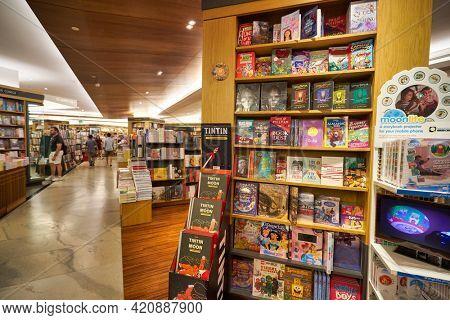 SINGAPORE - CIRCA JANUARY, 2020: interior shot of Books Kinokuniya store, Singapore largest bookstore. The store offering books, magazines, music, CD, Manga and much more.