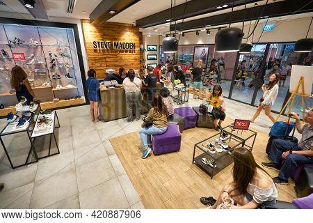 SINGAPORE - CIRCA JANUARY, 2020: interior shot of Steven Madden store in Nge Ann City shopping center.