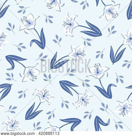 Tossed Blue Spring Lilies With Blue Leaves Seamless Pattern Background