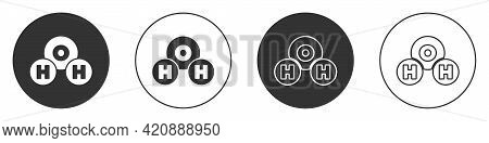 Black Chemical Formula For Water Drops H2o Shaped Icon Isolated On White Background. Circle Button.
