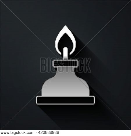 Silver Alcohol Or Spirit Burner Icon Isolated On Black Background. Chemical Equipment. Long Shadow S