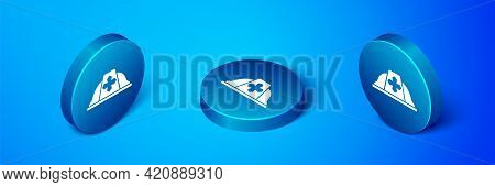 Isometric Firefighter Helmet Or Fireman Hat Icon Isolated On Blue Background. Blue Circle Button. Ve