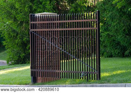Entrance Wrought Iron Gate To Luxury House Real Green Front