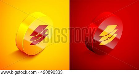 Isometric Layers Clothing Textile Icon Isolated On Orange And Red Background. Element Of Fabric Feat