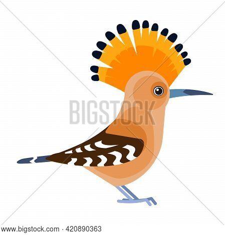 Eurasian Hoopoe Or Common Hoopoe, Upupa Epops . Bird Cartoon Flat Style Beautiful Character Of Ornit