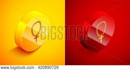 Isometric Christian Cross On Chain Icon Isolated On Orange And Red Background. Church Cross. Circle