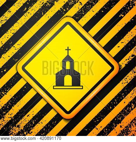 Black Church Building Icon Isolated On Yellow Background. Christian Church. Religion Of Church. Warn