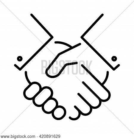 Monochrome Agreement Icon Vector Illustration. Partnership, Collaboration, Friendship And Alliance