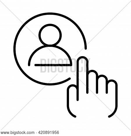 Linear Simple Employee Selection Icon Vector Illustration. Headhunting Job Candidate. Recruiter