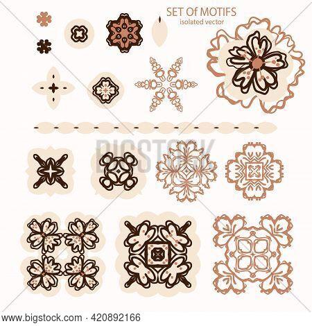 Naive Doodle Neutral Floral Motif Set. Cute Rustic Folk Silhouette Illustration Clipart. Decorative