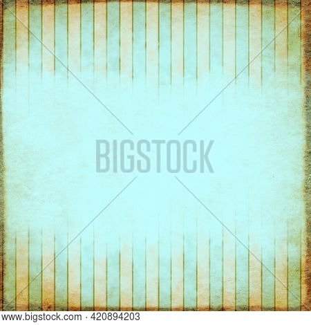 Square retro background in shabby chic style with old paper texture of blue color. Vintage backdrop with striped pattern. Copy space for text
