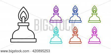 Black Line Alcohol Or Spirit Burner Icon Isolated On White Background. Chemical Equipment. Set Icons