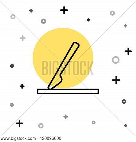 Black Line Medical Surgery Scalpel Tool Icon Isolated On White Background. Medical Instrument. Rando