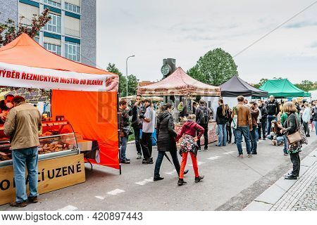 Prague, Czech Republic - May 15, 2021.traditional Farmers Market In Quarter Of Dejvice. Seller And C