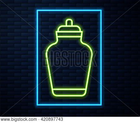 Glowing Neon Line Funeral Urn Icon Isolated On Brick Wall Background. Cremation And Burial Container