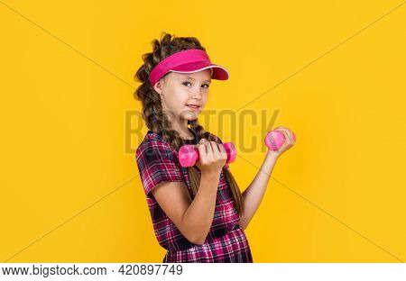 Healthy Sporty Tween Girl Hold Barbells, Workout