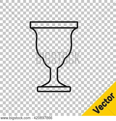 Black Line Christian Chalice Icon Isolated On Transparent Background. Christianity Icon. Happy Easte