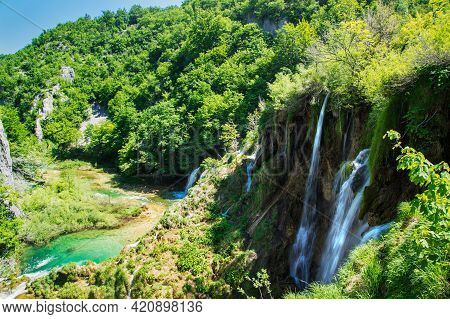 Valley In The Plitvice Lakes National Park.