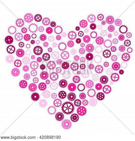 Pink Heart Of Cogwheels Gears. Mechanical Silhouette Of Human Heart.