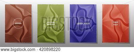 Flat Cover Templates Set. Fluid Curve Shapes Geometric Lines Patterns.