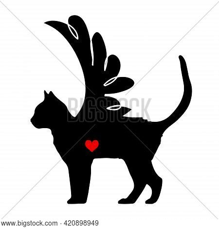 Cute Graceful Kitten Icon Isolated On White Background. Love Concept. Stick Vector Silhouette