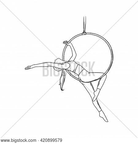 Circus Woman Acrobat In The Hoop. Aerial Dancer Isolated In White Background. Sketch Vector Illustra