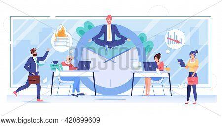 Vector Cartoon Flat Office Worker Character Flies In Yoga Pose.happy Employee Levitates In Office, C