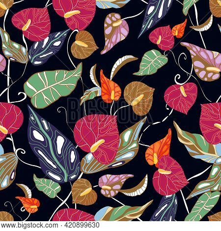 Anthurium. Seamless Floral Pattern With Pink, Red Glossy Flowers And Anthurium Leaves. Tropical Patt