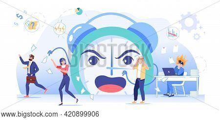 Vector Cartoon Flat Office Workers, Big Clock Character At Work Deadline Scene.afraid Upset Employee