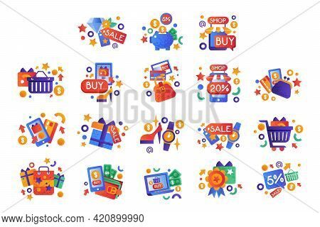 Big Set Of Colorful Shopping Icons, E-commerce, Business, Shopping And Payment Technologies Flat Vec