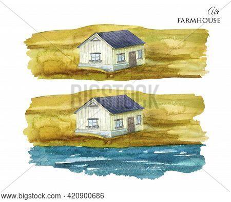 Watercolor Rural House. Norwegian House Near River. Hand Drawn Farmhouse