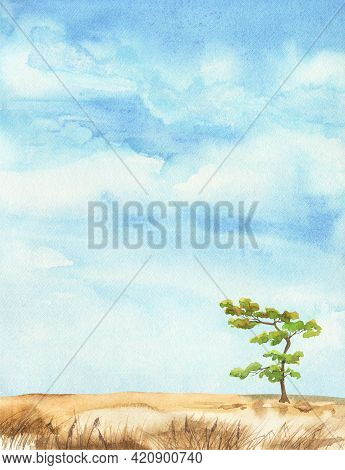 Lonely Tree In The Field. Watercolor Landscape, Blue Sky Illustration