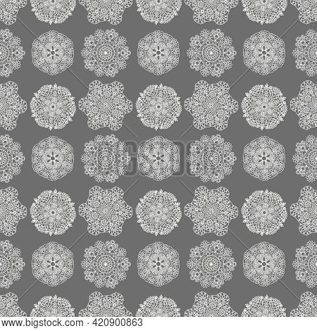 Russian Lace Napkins,seamless Pattern With Lace, Knitted Napkins, Folk Background, Scrapbooking, Fab