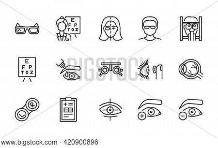 Ophthalmology Flat Line Icon Set. Vector Illustration Vision Treatment. Examination In An Ophthalmol
