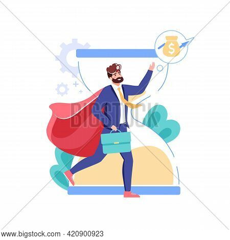 Vector Cartoon Flat Business Character Present Symbol Of Income On Hourglass Background.happy Employ