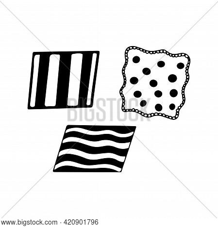 Pieces Of Fabric. Flaps. Black And White Vector Illustration In Doodle Style Isolated. Napkin Or Han