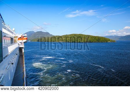 Ferry Cruise On The Inside Passage In Canada. Travel And Nature Concept.