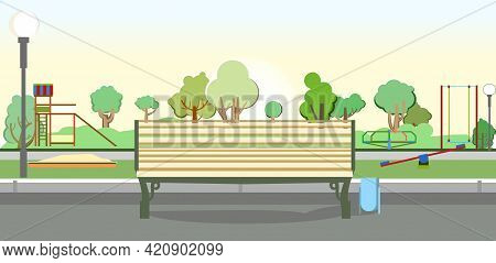 Bench On The Background Of A Playground In The Park. Swings, Slides And Carousels. Flat Cartoon Styl