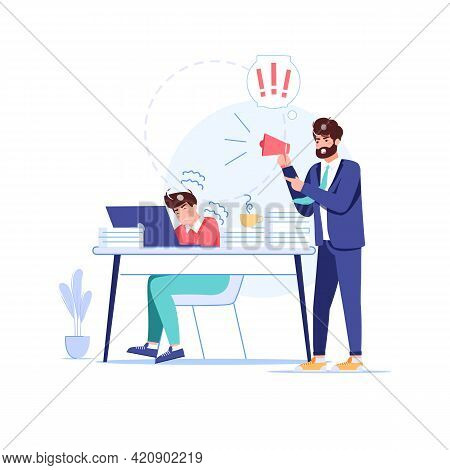 Vector Cartoon Flat Boss Manager, Office Worker Characters In Work Conflict Scene.angry Boss Shouts