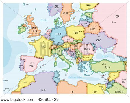 Political Map Of Continental Europe. Colorful Hand-drawn Cartoon Style Illustrated Map With Bathymet