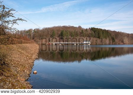 Dhunn, Germany - March 6, 2021: Panoramic Image Of Dhunn Water Reservoir On March 6, 2021 In Bergisc
