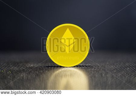 Ethereum (eth) Cryptocurrency; Ethereum Gold Coin Background. Blockchain Concept. Crypto, The Future