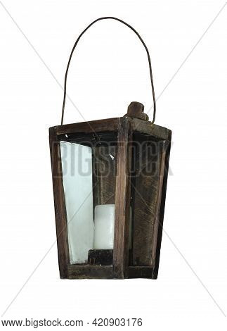 Ancient Hanging Candle Lamp Isolated Over White Background. Antique Wooden Lamp With A Candle Hangin