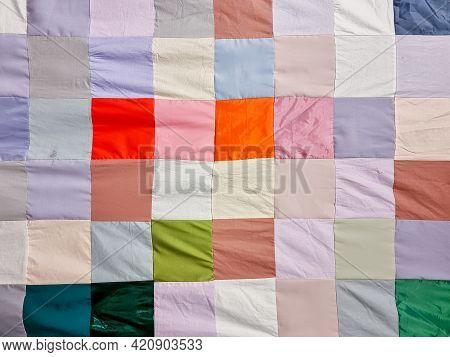 Patchwork Quilt , Basic Pattern Square.part Of Patchwork Quilt As Background. Flower Print. Color Bl